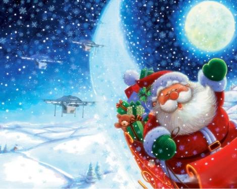 Santa with Amazon Drones
